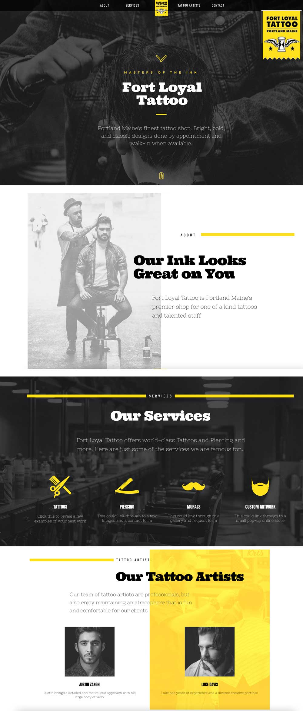 Fort Loyal Tattoo Web Design