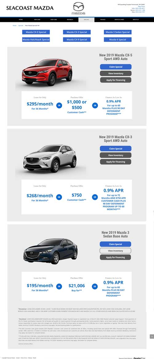 Seacoast Mazda Auto Specials Website