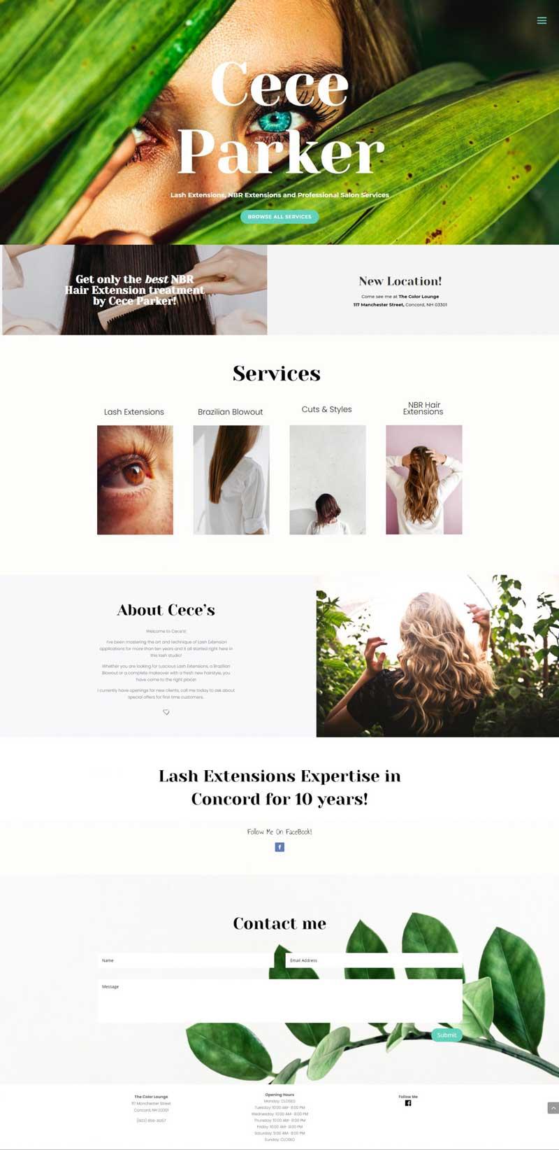 Cece Parker Lash Extensions Website