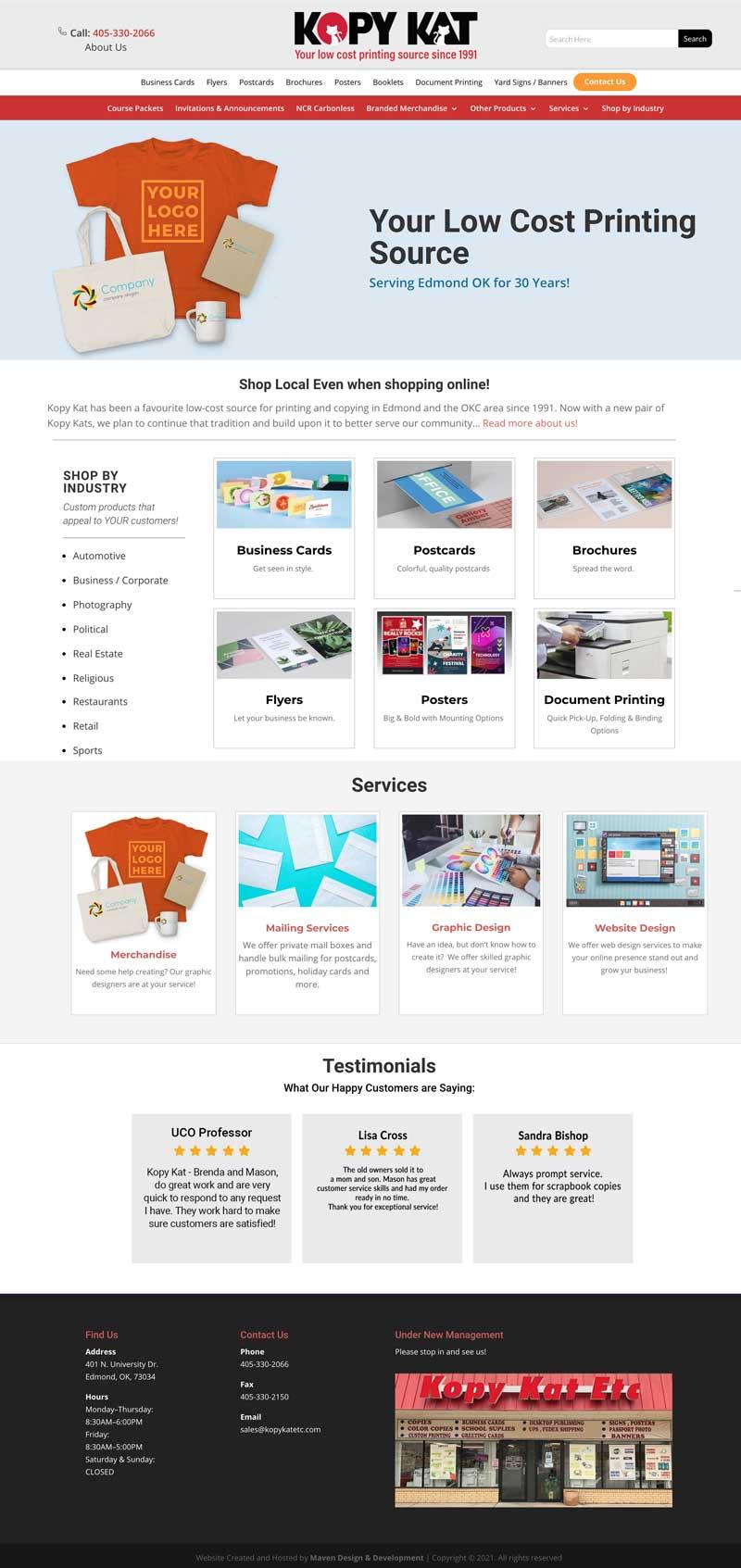 Kopy Kat Print Shop Website