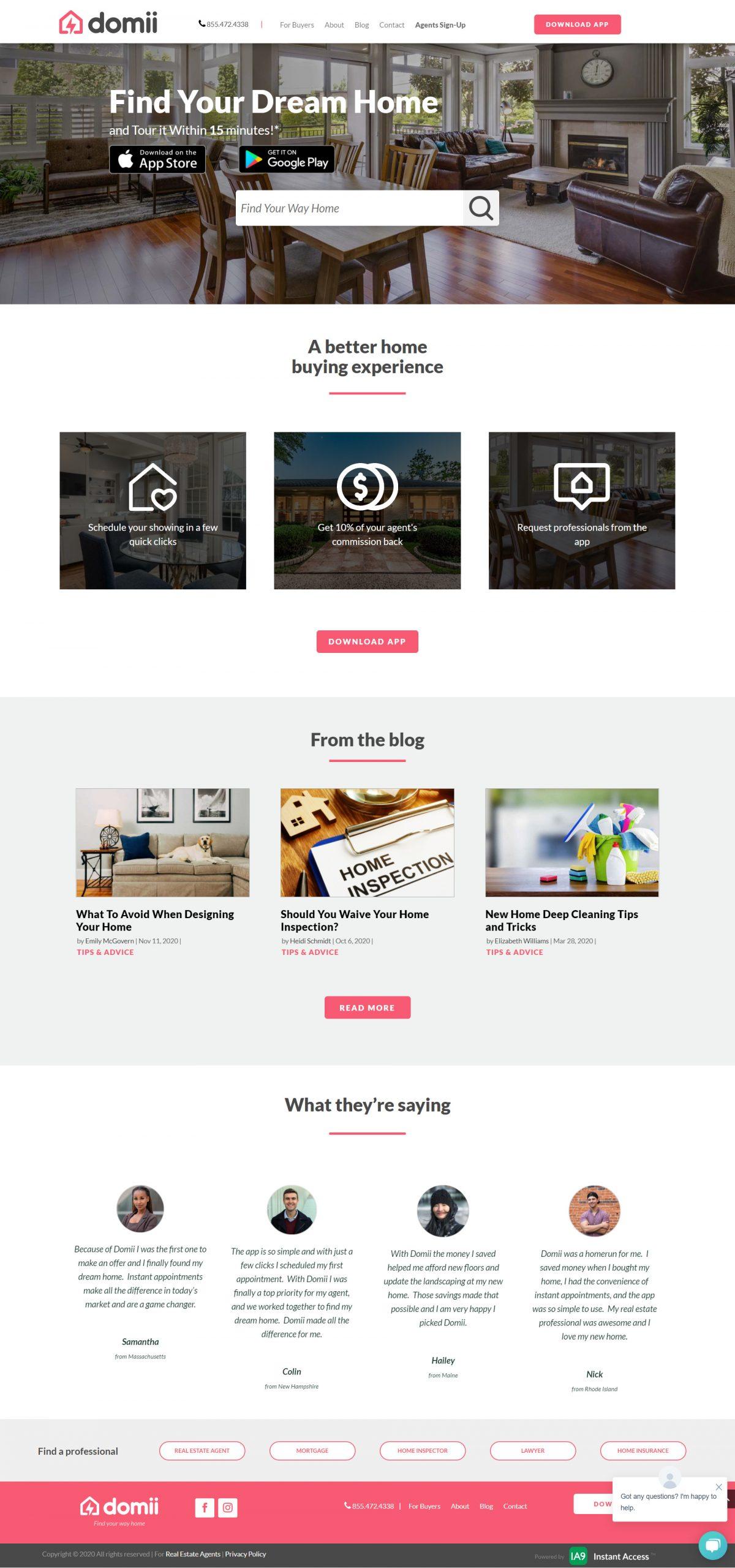 Domii Real Estate Website
